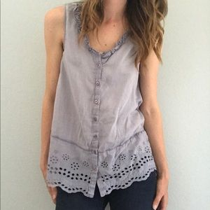 Anthropologie Floreat Blue Top